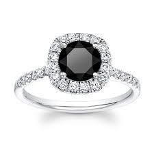 18ct White Gold 1.01cts Round Brilliant Cut Black Diamond Ring FJ0102