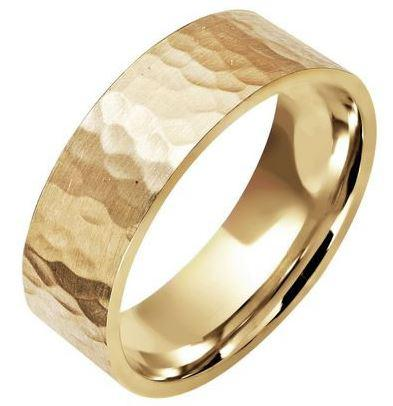 Classics  hammered finish wedding ring 18ct 243A023