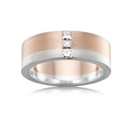 18ct Multitone Gents Diamond Wedding Ring 2T4086