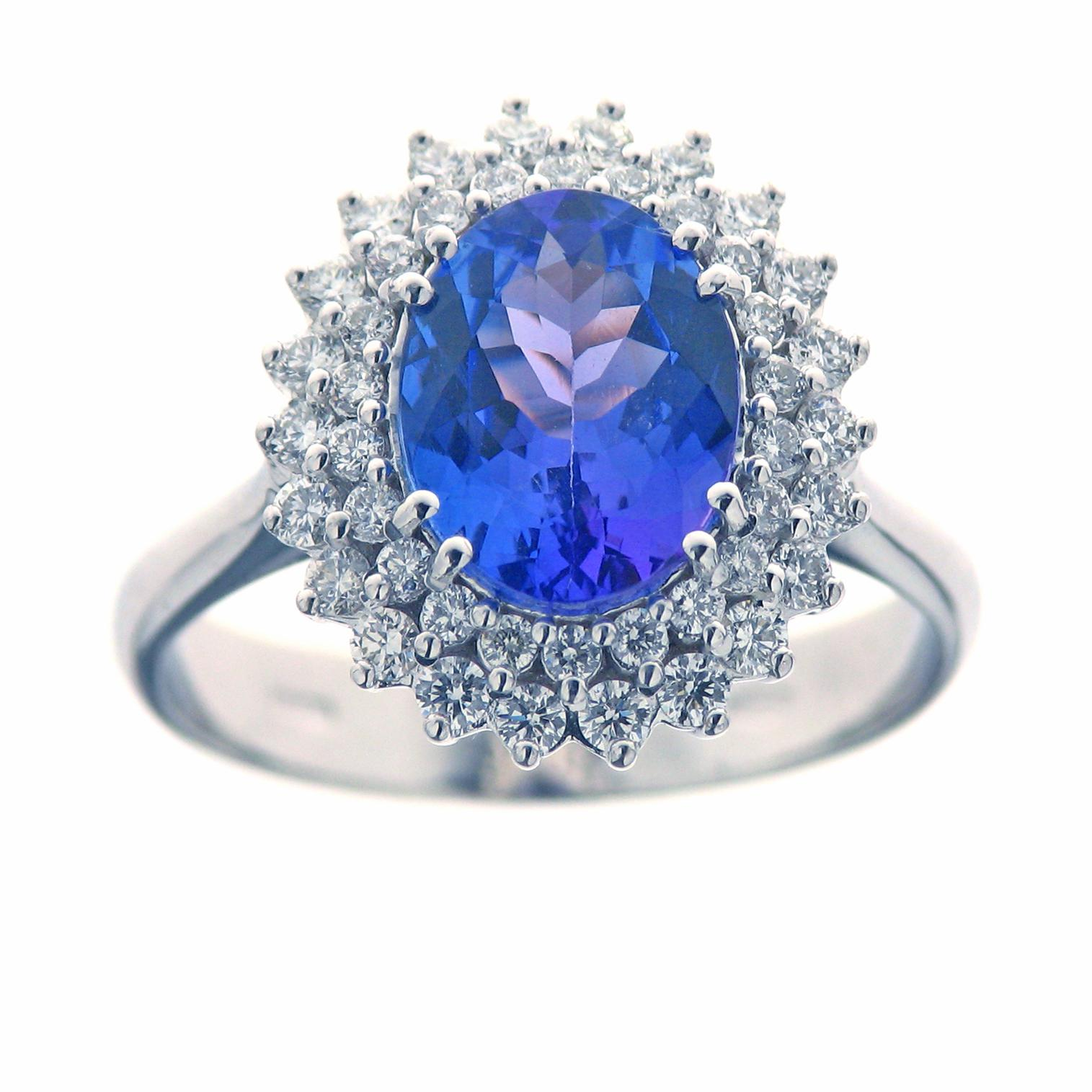 Gival 18ct White Gold Diamond & Tanzanite Ring 3822/A