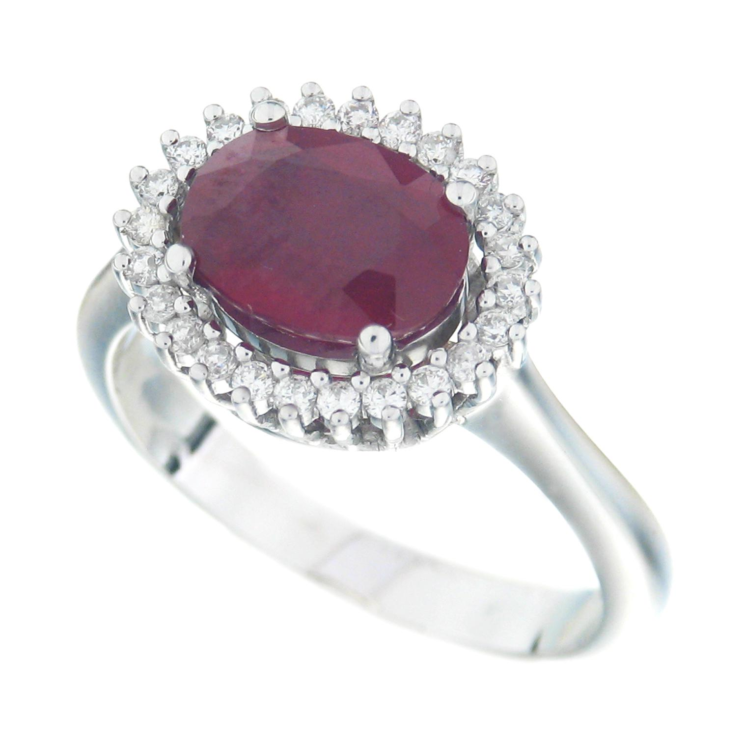 Gival 18ct White Gold Diamond & Ruby Ring 3871