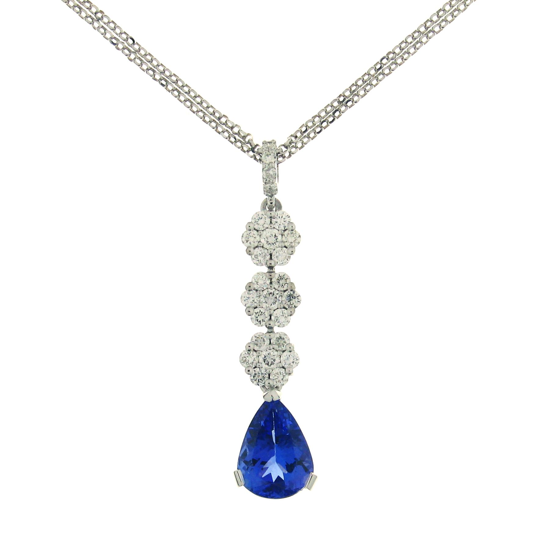 Gival 18ct White Gold Diamond & Tanzanite Pendant 3872