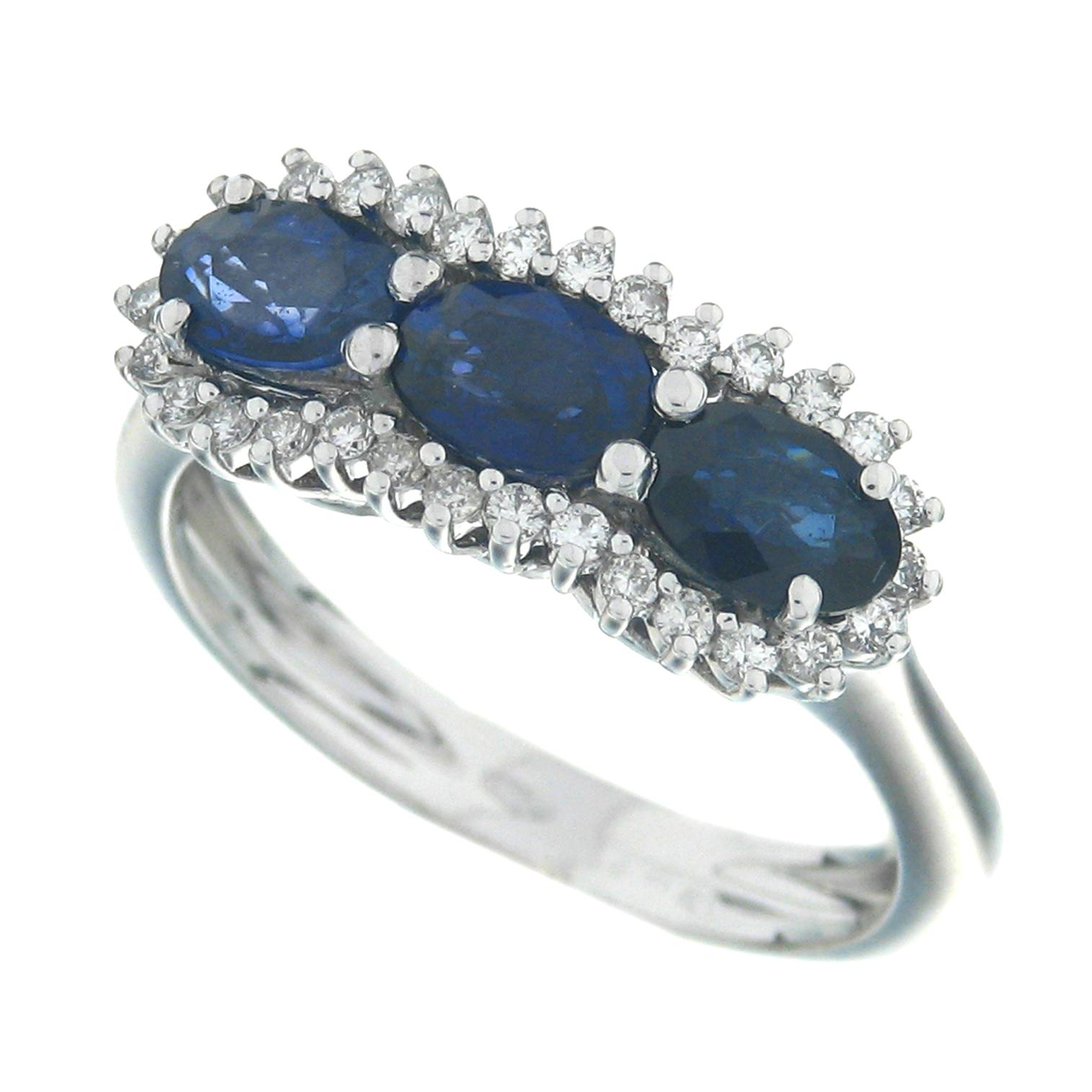 Gival 18ct White Gold Diamond & Sapphire Ring 3892