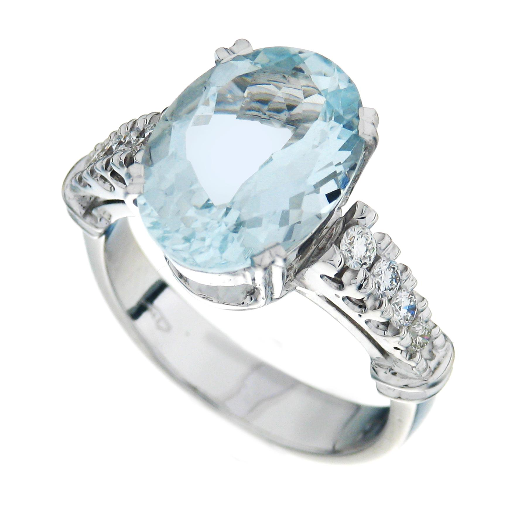 Gival 18ct White Gold Diamond & Aquamarine Ring 3927/A