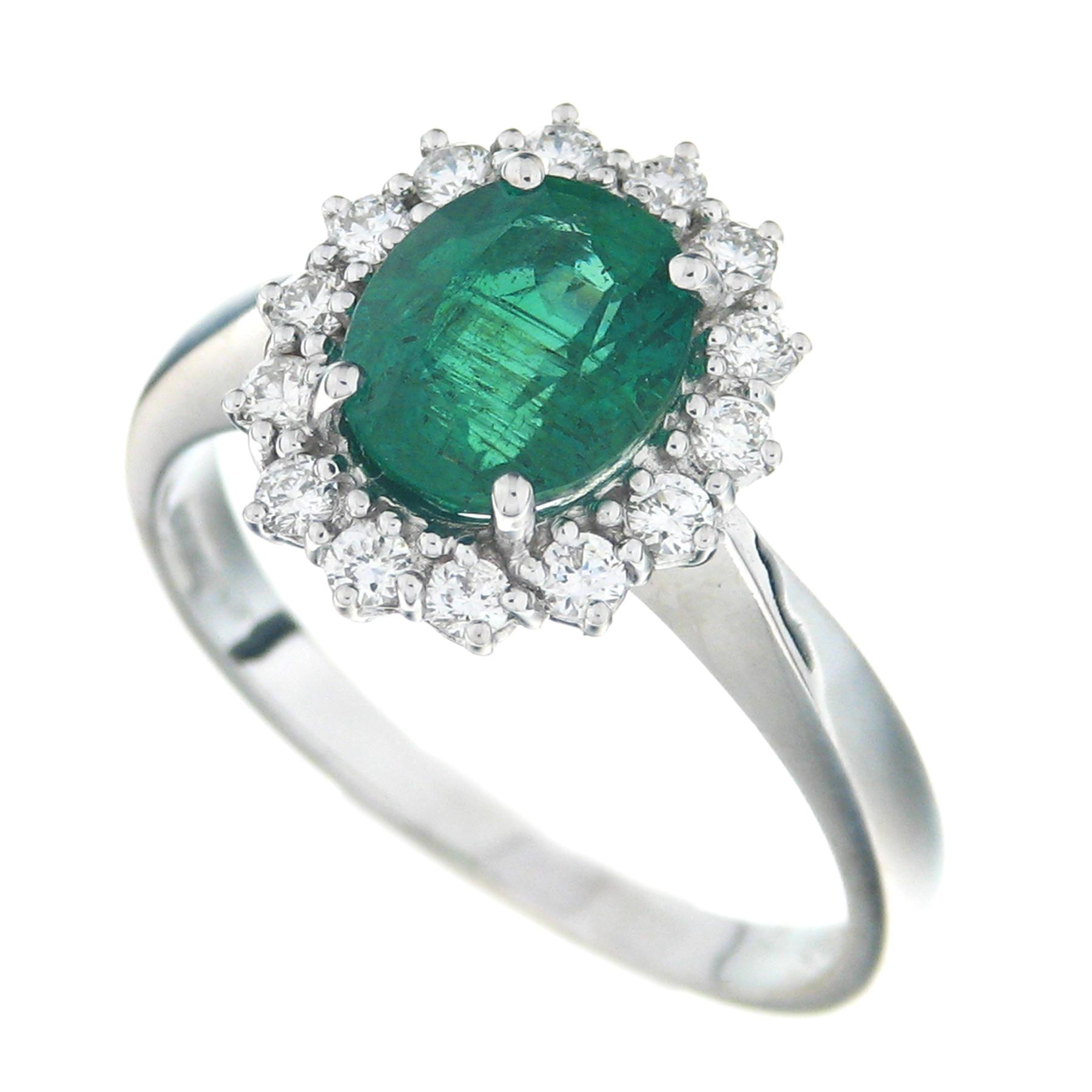 Gival 18ct White Gold Diamond & Emerald Ring 3935