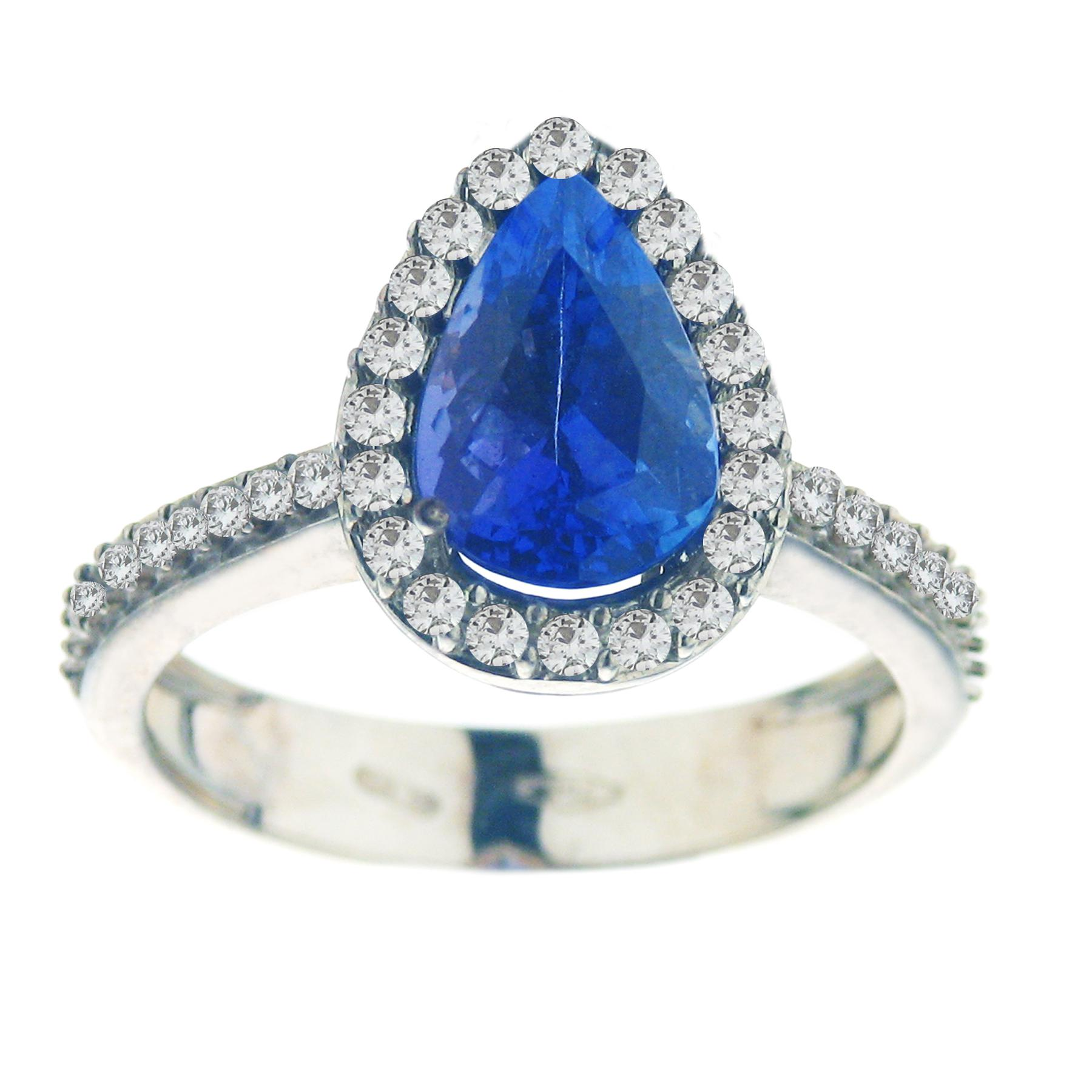 18ct White Gold Diamond & Tanzanite Ring-FRANCO