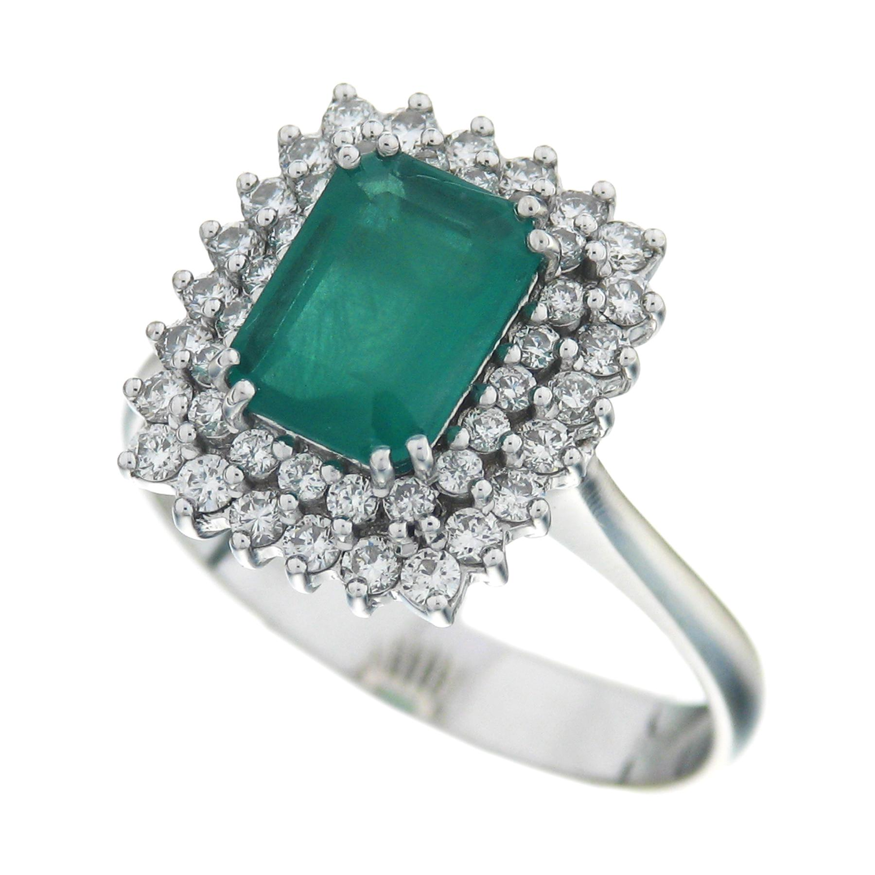 Gival 18ct White Gold Diamond & Emerald Ring 3943