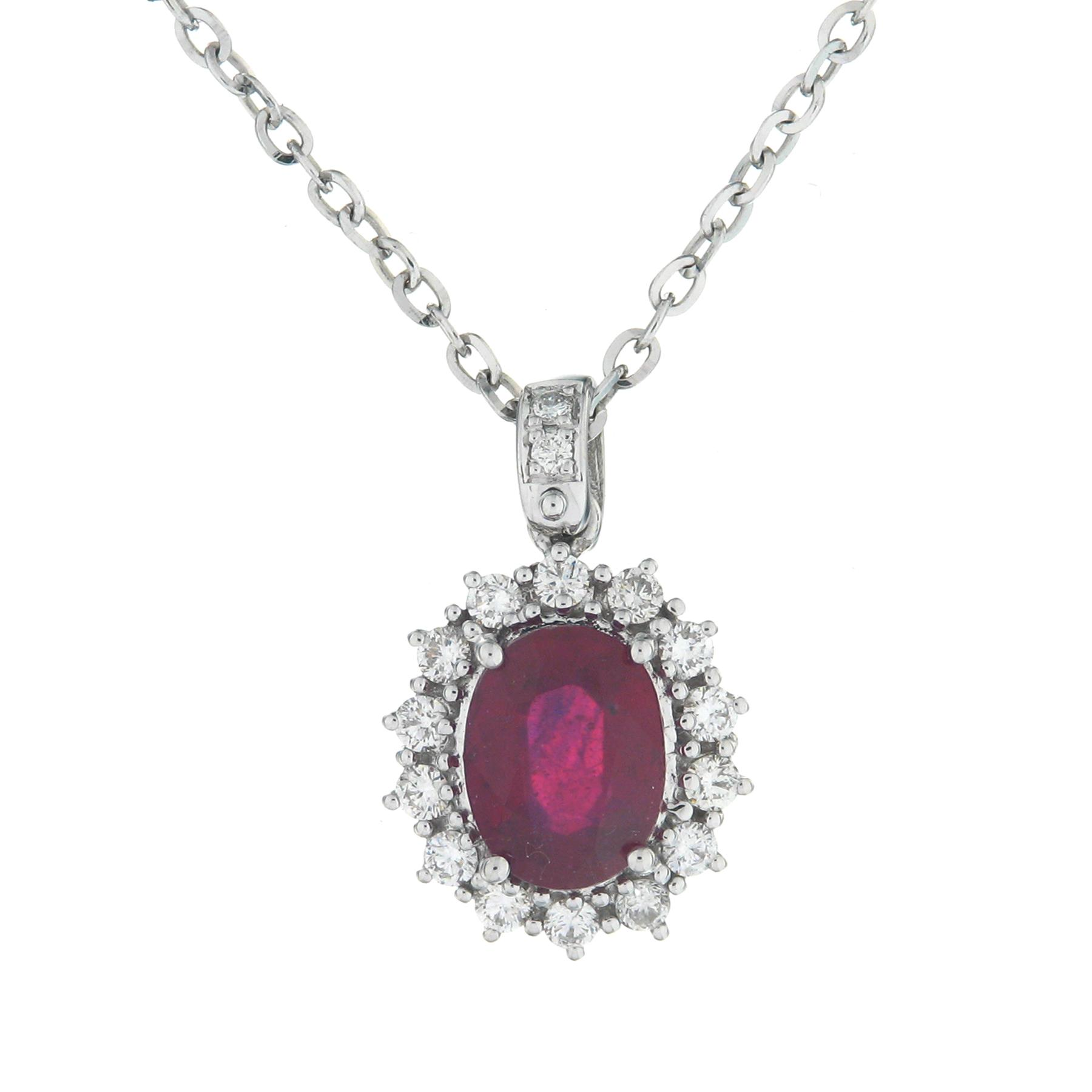 Gival 18ct White Gold Diamond & Ruby Pendant 3947