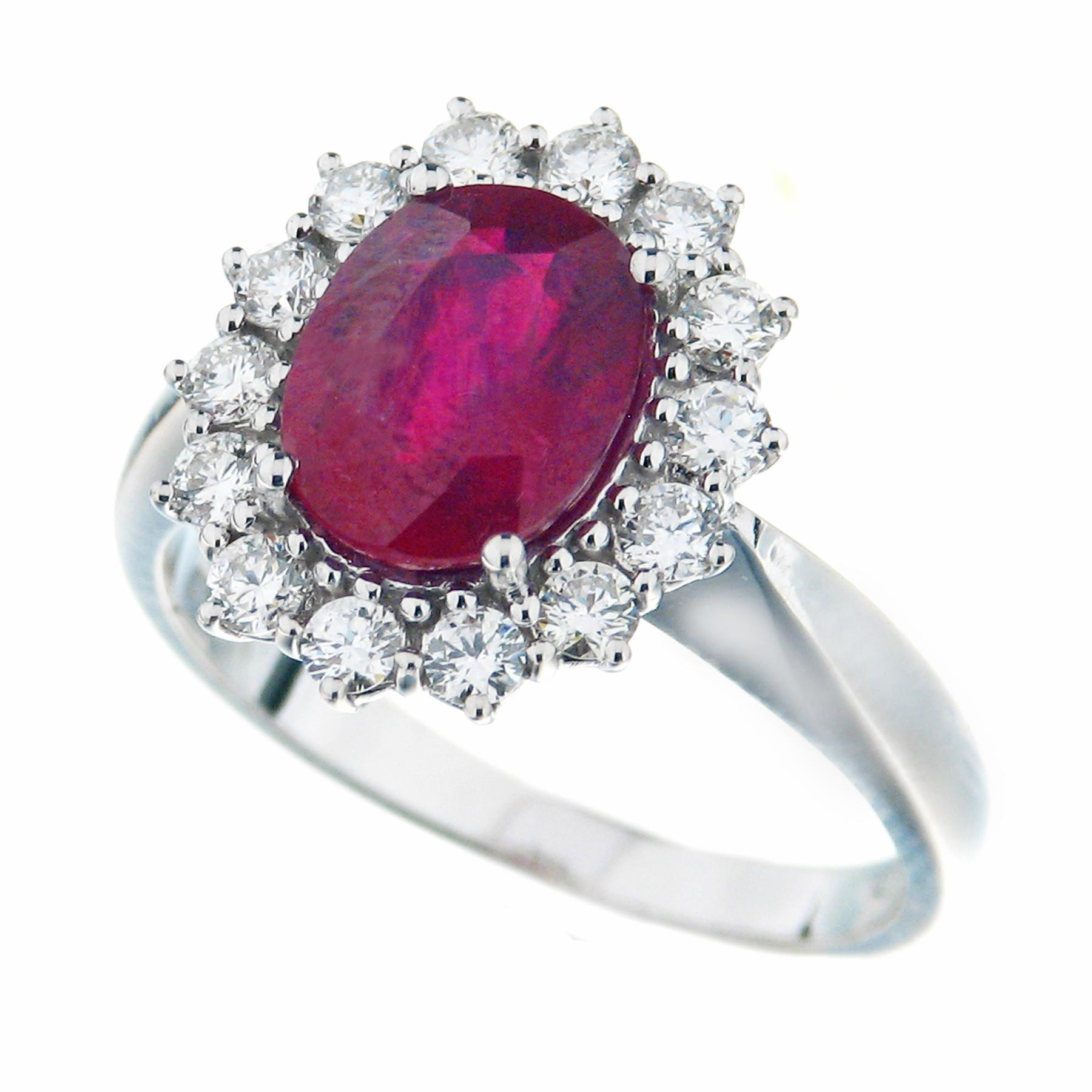 Gival 18ct White Gold Diamond & Ruby Ring 3947/A