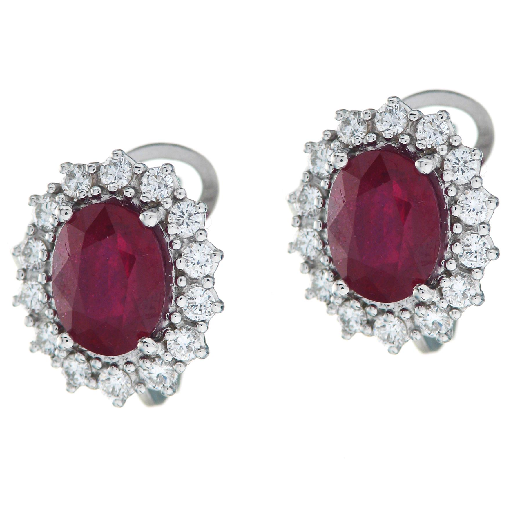 Gival 18ct White Gold Diamond & Ruby Earrings 3947/O