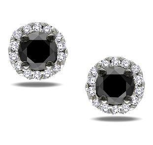 18ct White Gold Black Diamond Halo Studs FJ0075