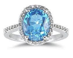 18ct White Gold Blue Topaz Diamond Ring FJ0039