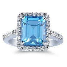 18ct White Gold Blue Topaz Diamond Ring FJ0040