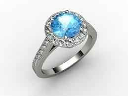 18ct White Gold Blue Topaz Diamond Ring FJ0043