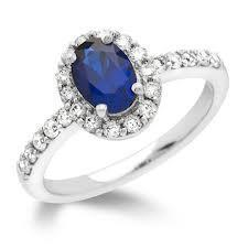 18ct White Gold Diamond And Ceylon Sapphire Ring FJ0034