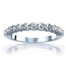 18ct White Gold Fine Shared Claw Diamond Wedding Ring