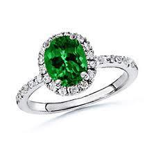 18ct White Gold Emerald And Diamond Ring FJ0044