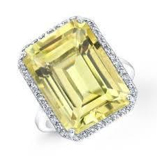 18ct White Gold Lemon Quartz Diamond Ring FJ0038