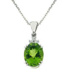 GiVal 18ct White Gold Peridot And Diamond Pendant