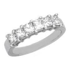 18ct White Gold Princess Cut Diamond Wedding Ring FJ0060