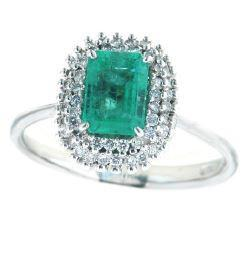 GiVal 18ct White Gold Emerald And Diamond Ring