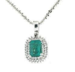 GiVal 18ct White Gold Emerald And Diamond Pendant FJ4008