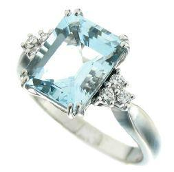 Gival 18ct White Gold Aquamarine And Diamond Ring