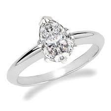 18ct White Gold 0.53cts Pear Shape Diamond Ring FJ0049
