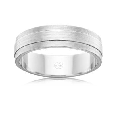 9ct White Gold Gents Wedding Ring- F3621