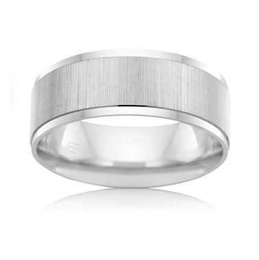 18ct White Gold Gents Wedding Ring F619