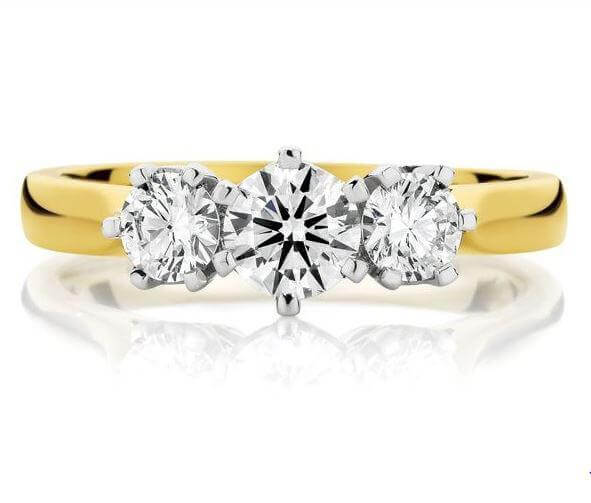 18ct Yellow & White Gold Round Brilliant Cut Diamond Ring FJ0121