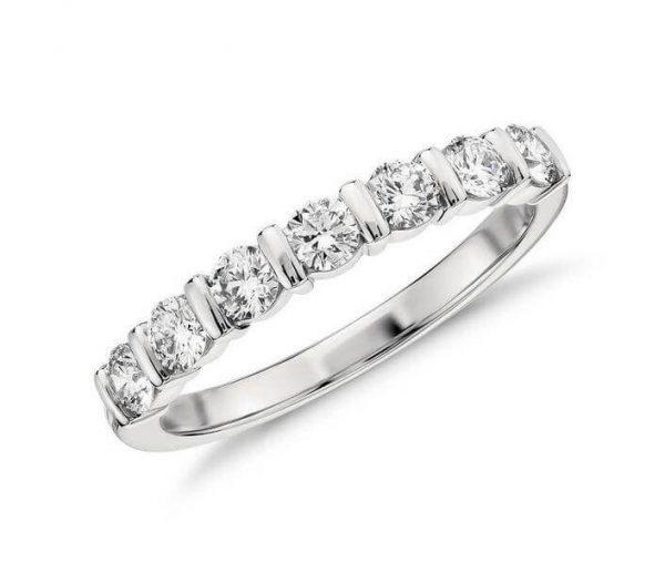 18ct White Gold Bar Set Diamond Wedding Ring