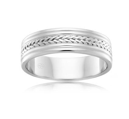18ct White Gold Gents Wedding Ring J1139