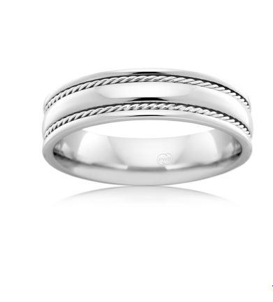 18ct White Gold Gents Wedding Ring J2092