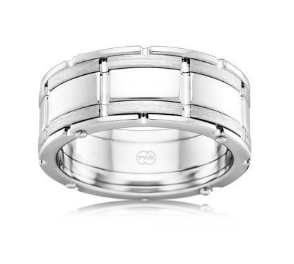 18ct White Gold Gents Wedding Ring J3940