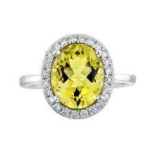 18ct White Gold Lemon Quartz Diamond Ring FJ0037