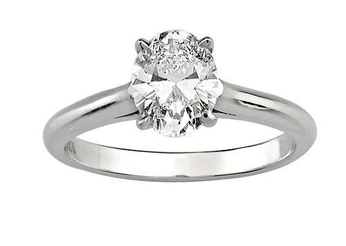 18ct White Gold 0.53 Oval Cut Diamond Ring FJ0081