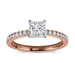 18ct Rose Gold 0.51cts Princess Cut Diamond Ring FJ0063