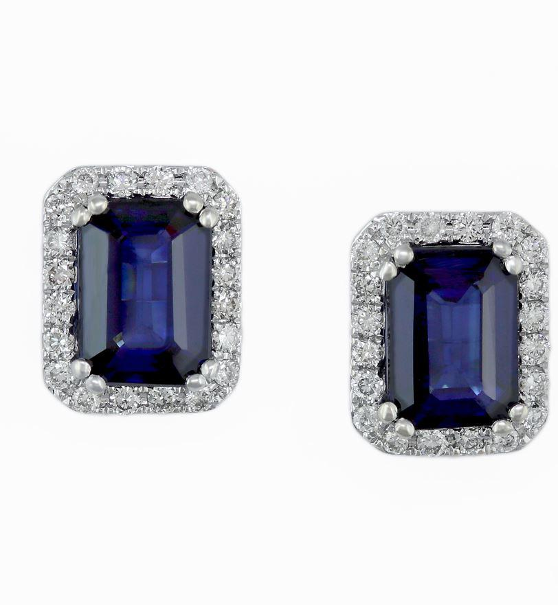 Effy 14ct White Gold Sapphire And Diamond Earrings VPOM892DF3