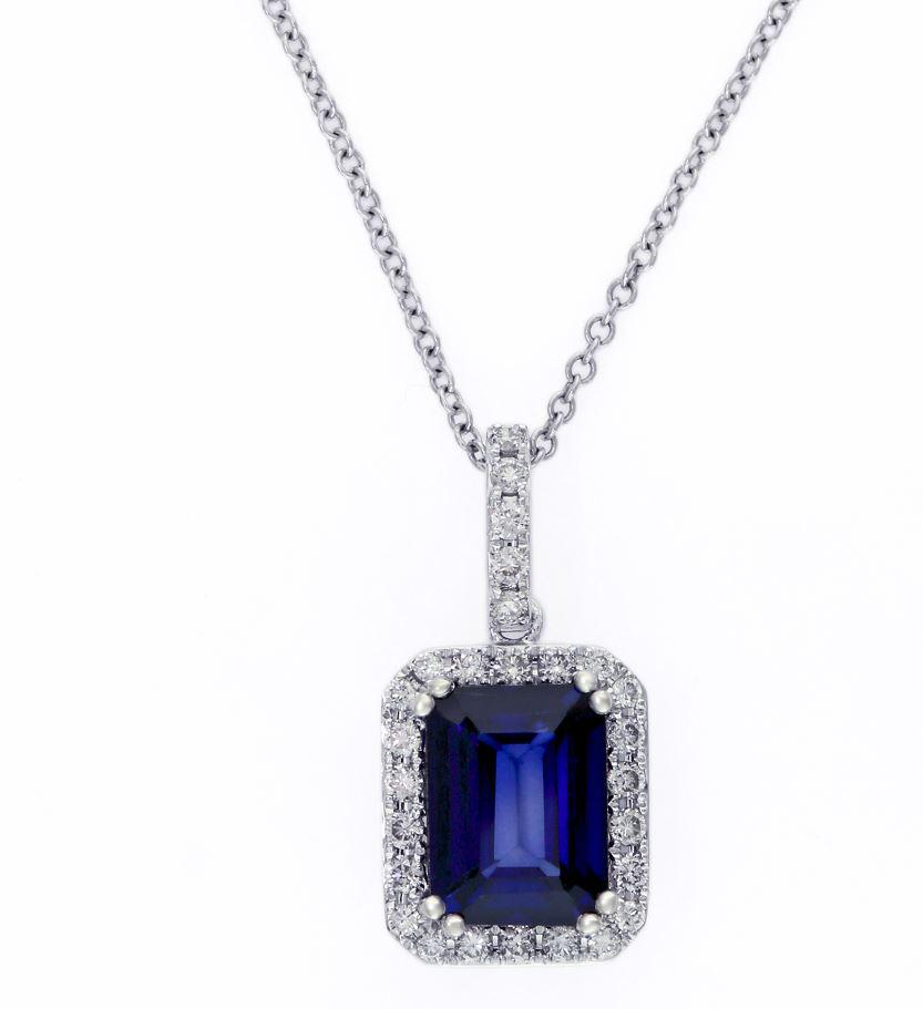 Effy 14ct White Gold Sapphire And Diamond Pendant YCPM221DF3