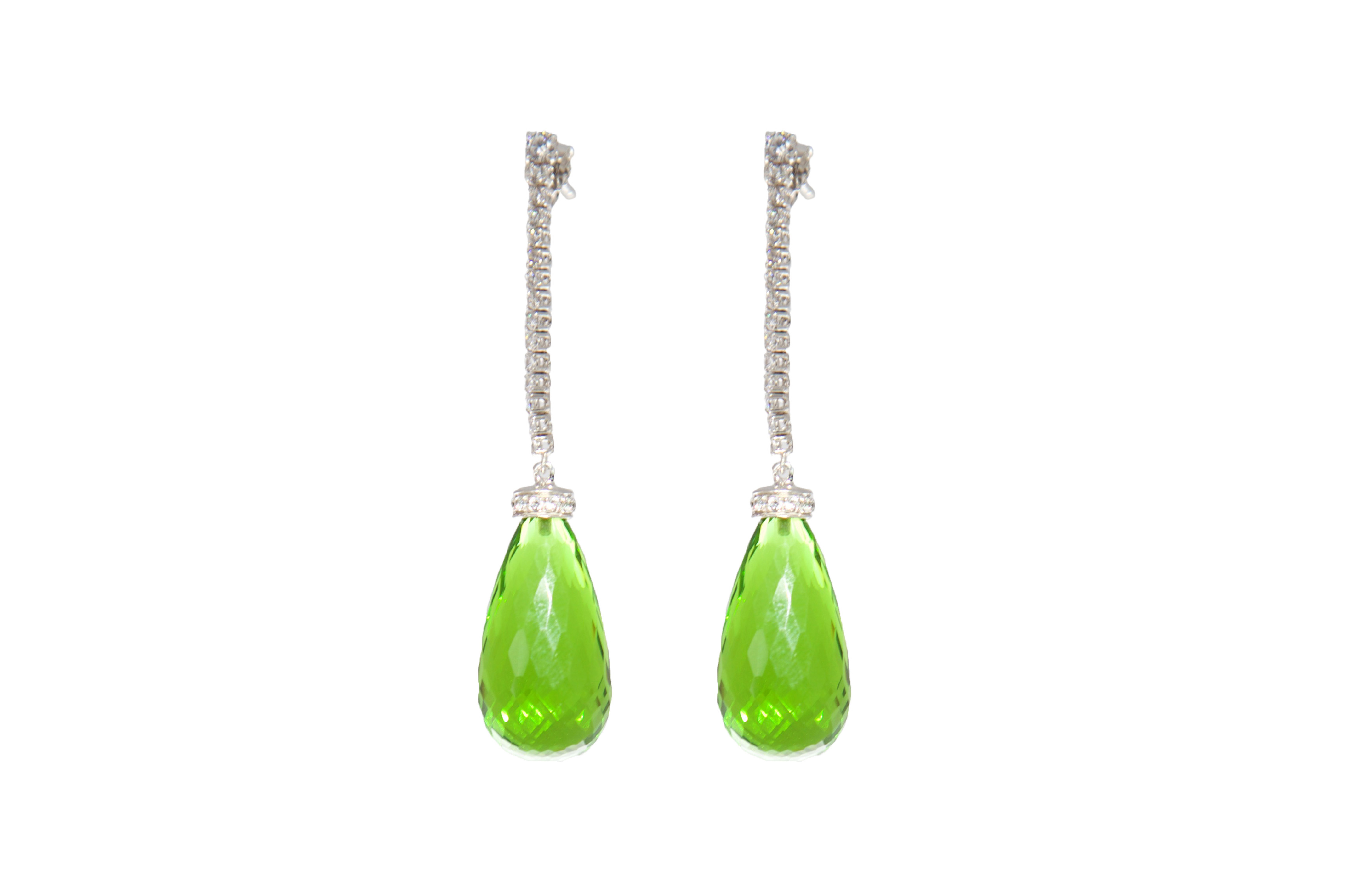 Moro & Ognissanti -Brazil earrings with peridot drop – 6 cm