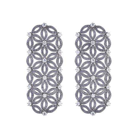 Moro and Ognissanti-4 flower Velo Earrings with CZ and blue sapphire