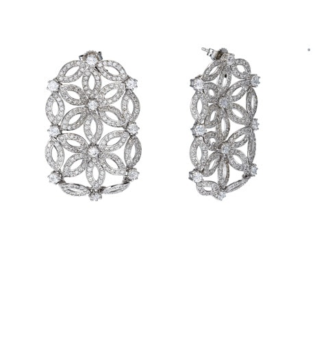 Moro and Ognissanti -Velo Earrings with bright CZ – 4 cm
