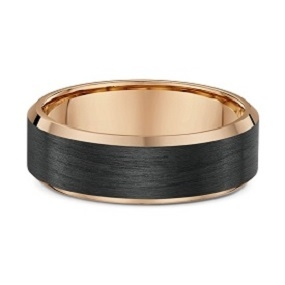 Carbon Fibre and 9ct rose gold wedding ring -592B00
