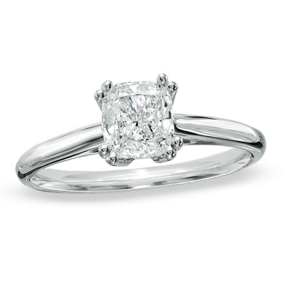 18ct white gold cushion cut solitair -FJ2009