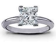 18ct white gold diamond princess cut solitair- FJ2010