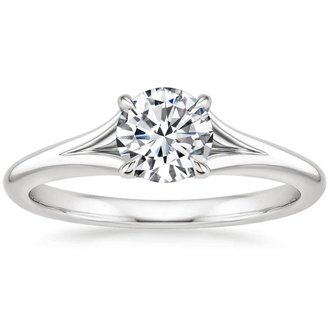 18ct white gold open side band solitair engagement ring-FJ2008
