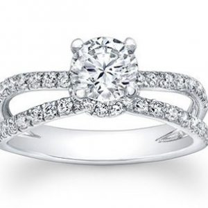 double band pave with round diamond