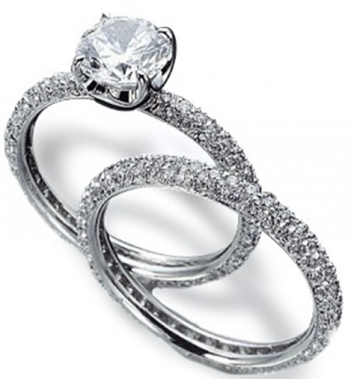18ct white gold four claw and pave band engagement ring- FJ2006