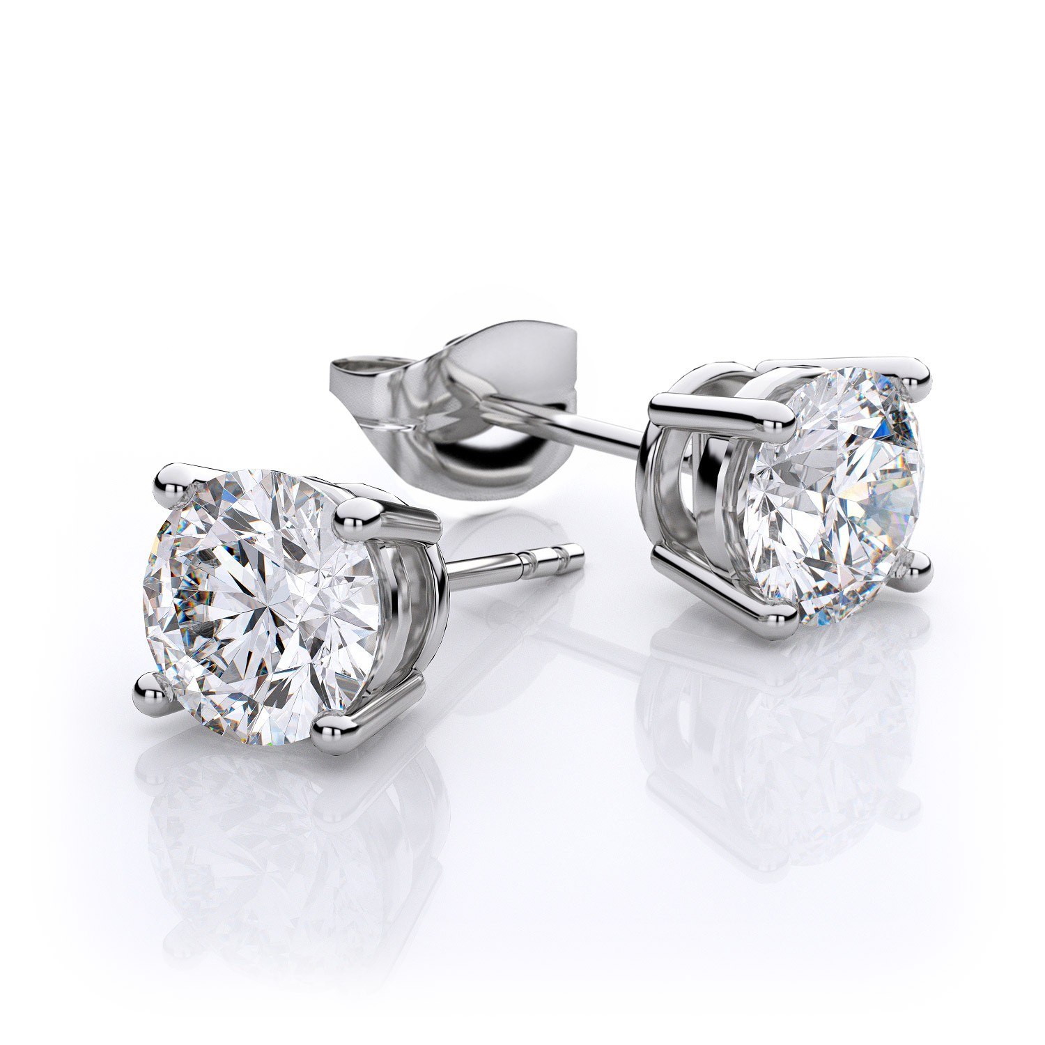 18ct white gold diamond stud earring FJ4002
